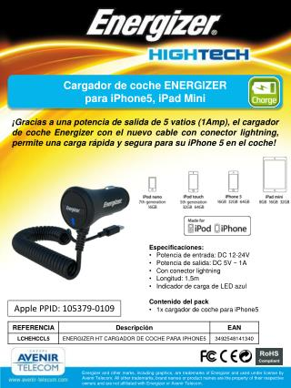 Cargador de coche ENERGIZER para iPhone5, iPad Mini