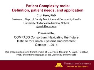 Patient Complexity tools: Definition, patient needs, and application