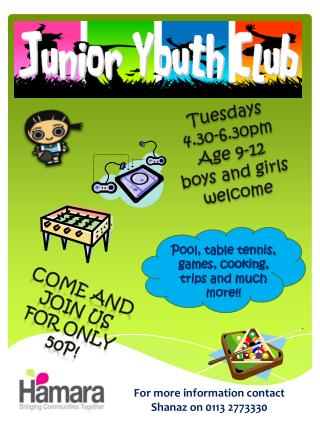 Tuesdays 4.30-6.30pm Age 9-12 boys and girls welcome