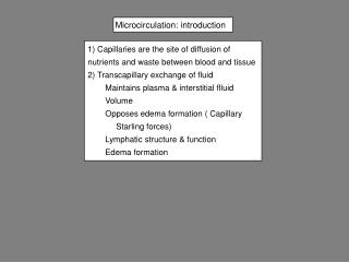 Microcirculation: introduction