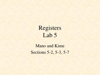 Registers Lab 5