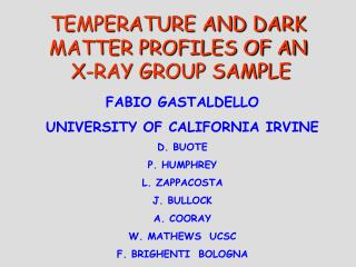 TEMPERATURE AND DARK MATTER PROFILES OF AN X-RAY GROUP SAMPLE