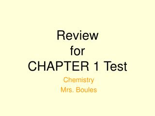 Review for CHAPTER 1 Test