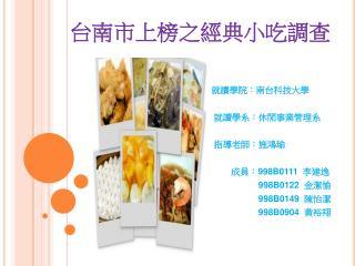 台南市上榜之經典小吃調查