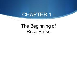 CHAPTER 1 - Chapter 1:  The Beginning of  Rosa Parks