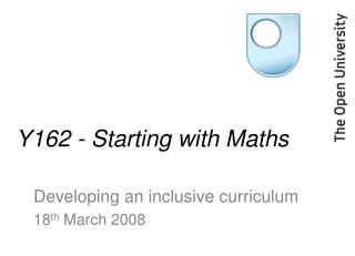 Y162 - Starting with Maths