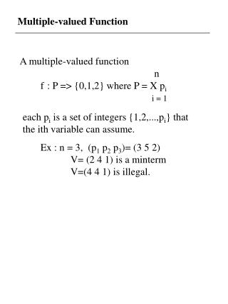 Multiple-valued Function