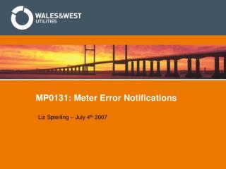 MP0131: Meter Error Notifications