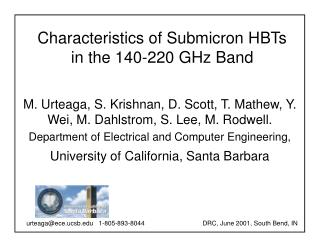 Characteristics of Submicron HBTs in the 140-220 GHz Band