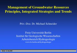 Management of Groundwater Resources Principles, Integrated Strategies and Trends