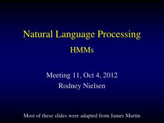Natural Language Processing HMMs