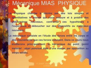 Mécanique MIAS PHYSIQUE