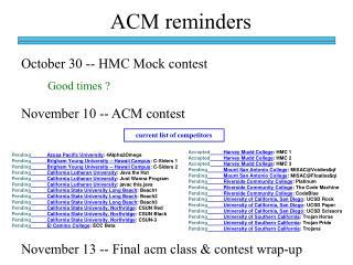 ACM reminders