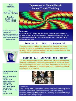 Department of Mental Health Annual Trends Workshop
