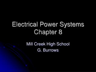 Electrical Power Systems Chapter 8
