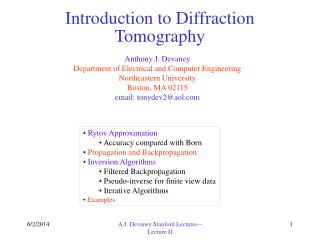 Introduction to Diffraction Tomography