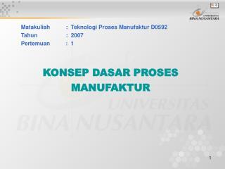 Matakuliah: Teknologi Proses Manufaktur D0592 Tahun: 2007 Pertemuan : 1