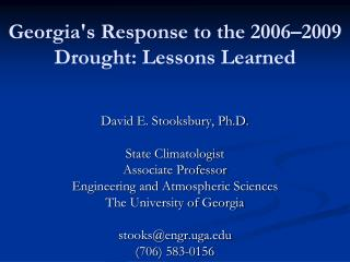Georgia's Response to the 2006–2009 Drought: Lessons Learned
