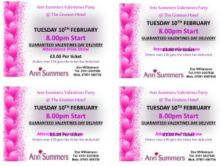 Ann Summers Valentines Party @ The Grotton Hotel TUESDAY 10 TH FEBRUARY 8.00pm Start