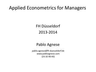FH Düsseldorf 2013-2014 Pablo Agnese
