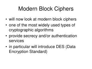 Modern Block Ciphers