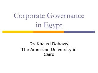 Corporate Governance  in Egypt