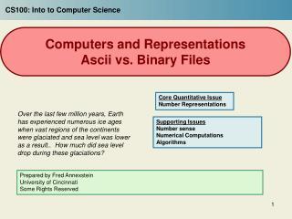 Computers and Representations Ascii vs. Binary Files