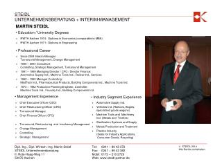 Chief Executive Officer (CEO) Chief Restructuring Officer (CRO) Turnaround Manager