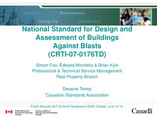 National Standard for Design and Assessment of Buildings Against Blasts (CRTI-07-0176TD)