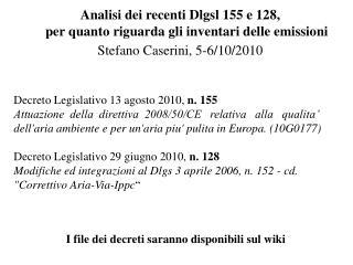 Decreto Legislativo 13 agosto 2010, n. 155