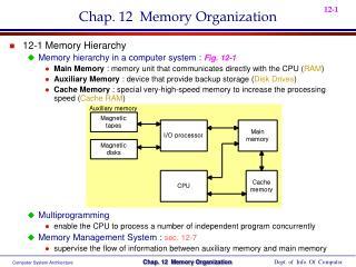Chap. 12 Memory Organization