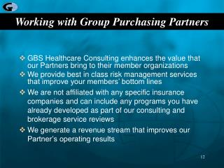 Working with Group Purchasing Partners