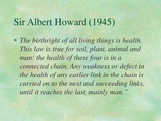 Sir Albert Howard (1945)