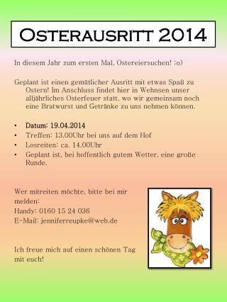Osterausritt 2014