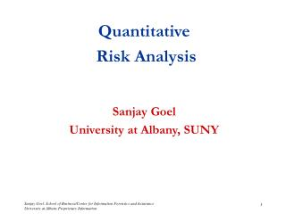 Quantitative   Risk Analysis Sanjay Goel University at Albany, SUNY