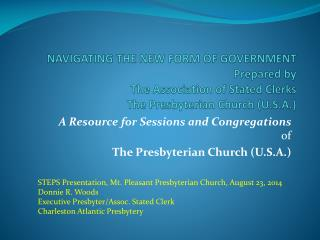 A Resource for Sessions and Congregations of The Presbyterian Church (U.S.A .)