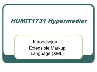 HUMIT1731 Hypermedier