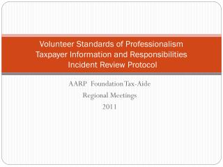 AARP Foundation Tax-Aide Regional Meetings 2011