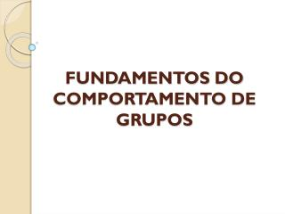 FUNDAMENTOS DO COMPORTAMENTO DE GRUPOS