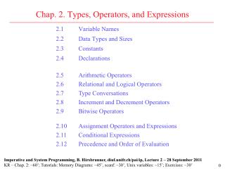 Chap. 2. Types, Operators, and Expressions