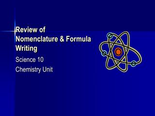Review of Nomenclature & Formula Writing