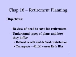 Chap 16 – Retirement Planning