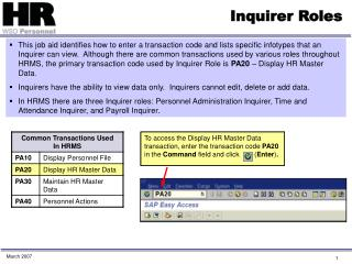 Inquirer Roles