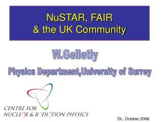 NuSTAR, FAIR & the UK Community
