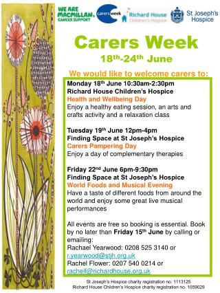 We would like to welcome carers to: