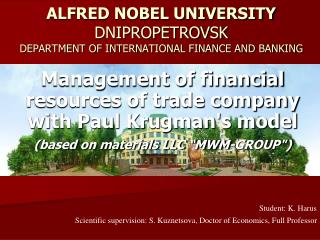 ALFRED NOBEL UNIVERSITY DNIPROPETROVSK DEPARTMENT OF INTERNATIONAL FINANCE AND BANKING