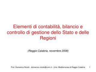 Elementi di contabilità, bilancio e controllo di gestione dello Stato e delle Regioni