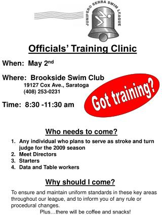 Officials' Training Clinic