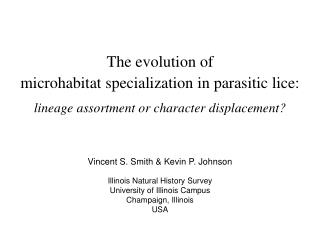 microhabitat specialization in parasitic lice :