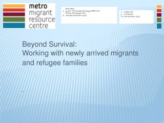 Beyond Survival: Working with newly arrived migrants and refugee families